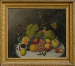 American School, 19th Century      Still Life with Fruit and Grape Vine on a Marble-top Table.