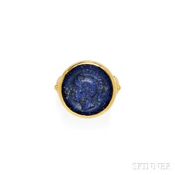 High-karat Gold and Lapis Cameo Cuvette Ring