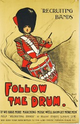 British Recruiting Bands - Follow the Drum   WWI Lithograph Poster