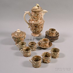 Eighteen Pieces of French Mocha-decorated Creamware