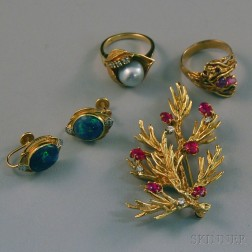 Small Group of 14kt Gold Gem-set Jewelry