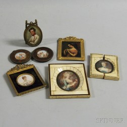 Five Portrait Miniatures and a Pair of Miniature Framed Classical Scenes