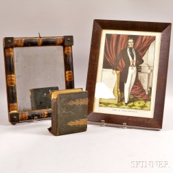 """Framed Currier & Ives """"Son of Temperance,"""" a Small Split-baluster Mirror, and an Early Photo Album.     Estimate $150-250"""