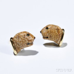18kt Gold and Hardstone Cuff Links, each with hardstone cheetah.