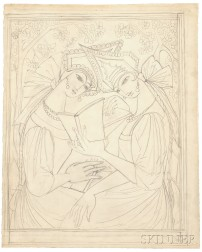 Natalia Sergeevna Goncharova (Russian, 1881-1962), Two Russian Maidens Reading/A Preparatory Drawing for a Poster Design for J. Povoloz