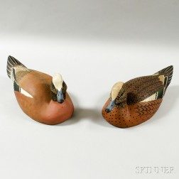 Pair of Baldpate Duck Decoys