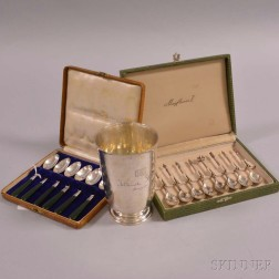 Two Sets of Demitasse Spoons and a Sterling Silver Footed Cup