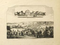 """Everts and Peck, publishers (American, 19th century)  """"SHAKER VILLAGE,"""" VIEW FROM THE NORTH WEST, WEST GLOUCESTER, MAINE."""