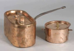 Two French Copper Lidded Pans