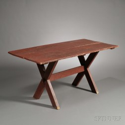 Red-painted Pine Sawbuck Table