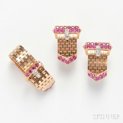 Retro 14kt Rose Gold and Ruby Buckle Suite, Tiffany & Co.