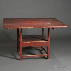 Red-painted Maple and Pine Hutch Table