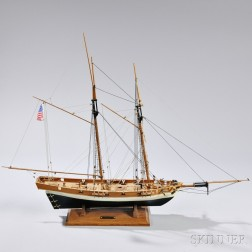 Small Wood Ship Model of the Topsail Schooner Lynx