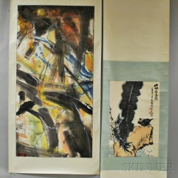 Three Hanging Scroll Paintings and a Loose Painting
