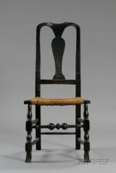Queen Anne Black-painted Spanish Foot Side Chair