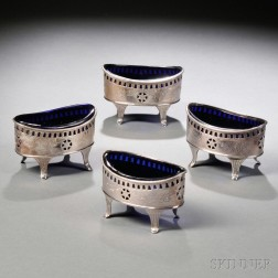 Four Silver Salt Cellars with Cobalt Glass Liners