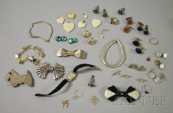 Art Deco White Gold, Diamond, and Gemstone Watch, and an Assorted Group of Silver   and Costume Jewelry