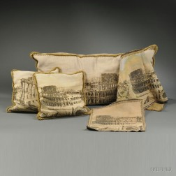 Five Cotton Machine-woven Tapestry Panels Depicting Roman Ruins