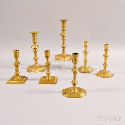 Two Pairs and Three Single English Brass Candlesticks
