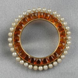 Retro 14kt Gold and Citrine Circle Pin, Retailed by Cartier