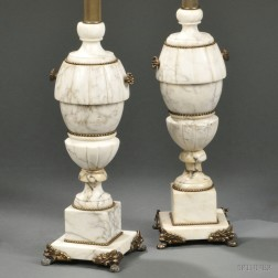 Pair of Alabaster and Metal-mounted Lamps