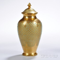 Jeweled Coalport Porcelain Vase and Cover