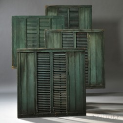 Set of Ten Blue/Green-painted Louvered Shutters