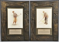 Pair of Carved Golf Frames, early 20th century, carved with classic golf items including a bag with clubs, a trophy, a flagstick, and a