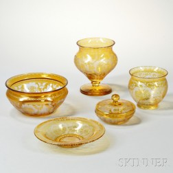 Five Pieces of Amber Etched Bohemian Tableware