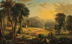 Attributed to Victor De Grailly (French, 1804-1889)      Hudson River Valley Farm (Haying at Garrison)