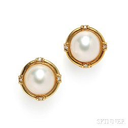 18kt Gold, Mabe Pearl, and Diamond Earclips, Mikimoto
