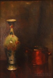 School of William Merritt Chase (American, 1849-1916)      Sill Life with an Oriental Vase and Copper Pot.