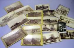 Seven Cabinet Cards and Ten Stereoview Cards Depicting 19th Century Views of the   American West