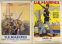 Two U.S. Marines WWI Lithograph Posters