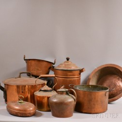 Eight Copper Cooking Items.     Estimate $200-250