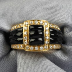 18kt Gold, Onyx, and Diamond Ring, Van Cleef & Arpels