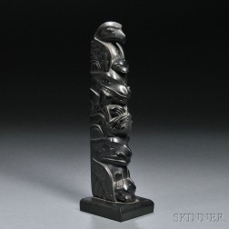 Haida Argillite Model Totem Pole Carving by John Cross (1867-1939)