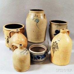 Seven Pieces of Mostly Cobalt-decorated Stoneware