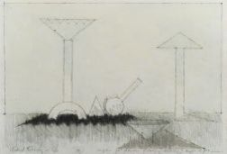 Michael Kenny (British, 20th Century)  Lot of Two Drawings of Sculpture for Aberdeen