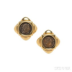 """18kt Gold and Ancient Bronze Coin """"Monete"""" Earclips, Bulgari"""
