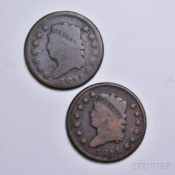 Two 1814 Classic Head Large Cents