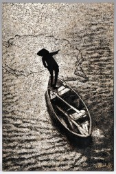 Lacquer Painting Depicting a Man on a Boat