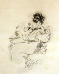 Unframed Harrison Fisher Pencil on Paper Sketch of a Seated Woman