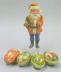 Papier-Mache Santa Candy Container and Four Easter Egg Containers