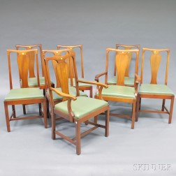 Eight A.H. Davenport Co. Chippendale-style Mahogany Dining Chairs