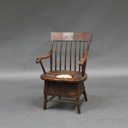Paint-decorated Windsor Potty Chair