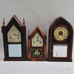 Two Connecticut Steeple Clocks and a Beehive Clock