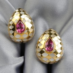 """18kt Gold, Pink Tourmaline, and Mother-of-pearl """"Harlequin"""" Earclips, Angela Cummings"""