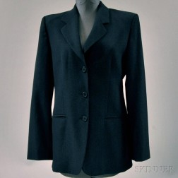 Emporio Armani Charcoal Gray Blended Wool Lady's Suit Jacket