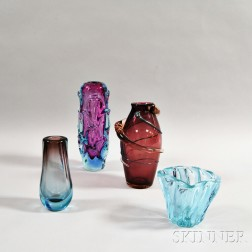 Four Colored Art Glass Vases